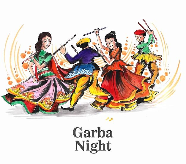 Schönes navratri-festival mit tanzendem garba-männer- und -frauendesign