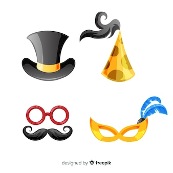 Schönes neues jahr party element sammlung mit flachen design