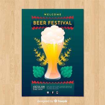 Schönes oktoberfest party poster mit flachem design