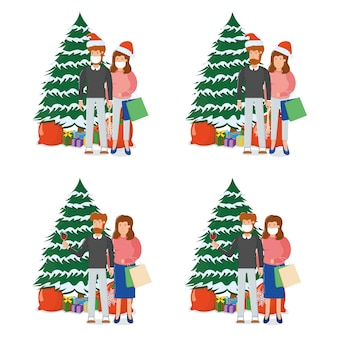 Schönes paar mann frau charakter stehend weihnachten tanne baum mit geschenkbox, frohe weihnachten souvenir tasche cartoon, isoliert auf weiß. konzept glücklicher familienneujahrsurlaub, niedliche person.