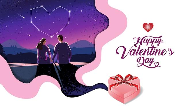 Schönes paar, valentinstag, festival, landschaft nacht hintergrund, banner design layout