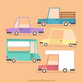 Schönes paket mit lastwagen und autos