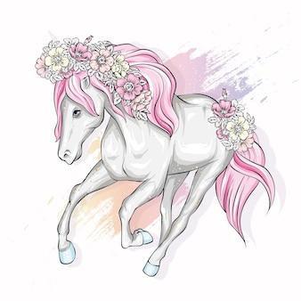 Schönes pferd mit blumen. .