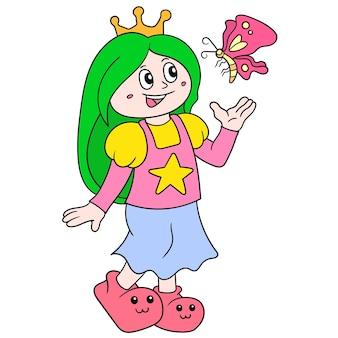 Schönes prinzessinmädchen, das eine goldene krone trägt, die mit schmetterlingen spielt, vektorillustrationskunst. doodle symbolbild kawaii.