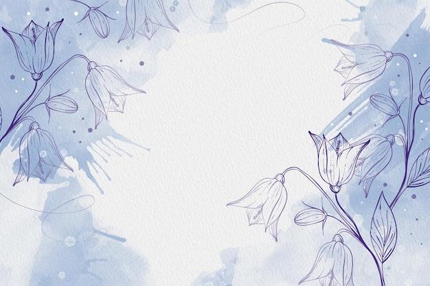 Schönes puderpastell mit handgezeichneten pflanzen