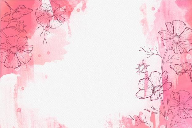 Schönes puderpastell mit handgezeichneter pflanzentapete