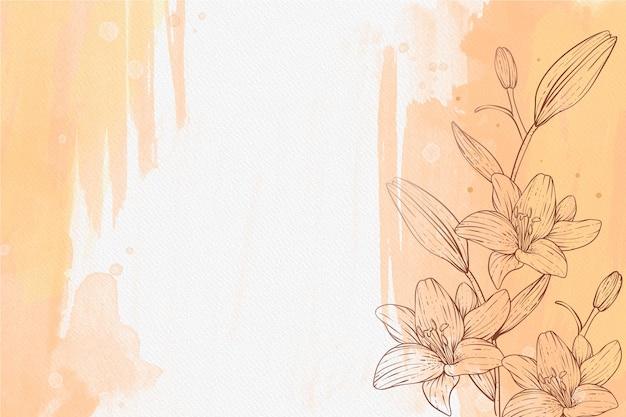 Schönes pulverpastell mit handgezeichnetem pflanzenhintergrund