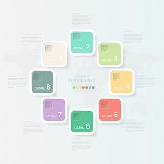 Schönes quadratisches infographics 8 element und ikonen für anwesendes geschäftskonzept.