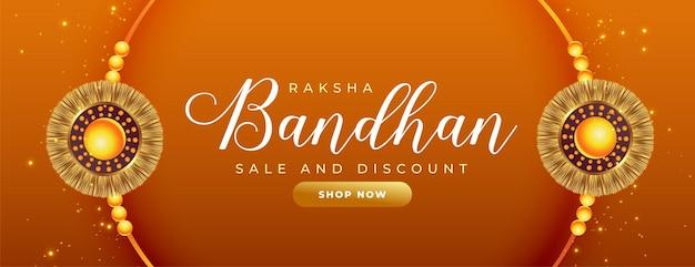 Schönes raksha-bandhan-verkaufsbanner mit realistischem rakhi-design