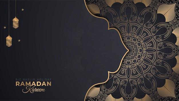 Schönes ramadan kareem breites banner im schwarzen und goldenen stil