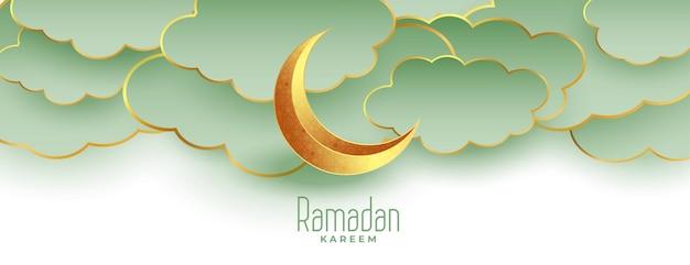Schönes ramadan kareem eid mubarak banner mit mond und wolken