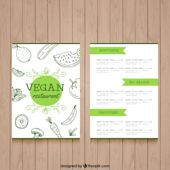 Schönes restaurant menü veganes essen