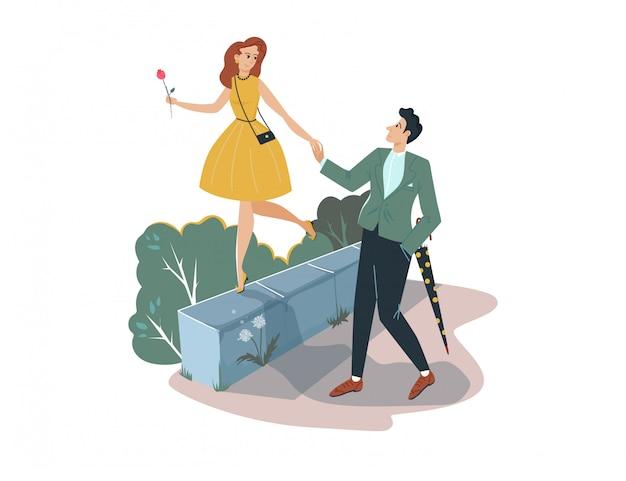 Schönes romantisches datum, mann, der handschatzfrau auf weiß, karikaturillustration hält. charakterpaar mann und frau spazieren.