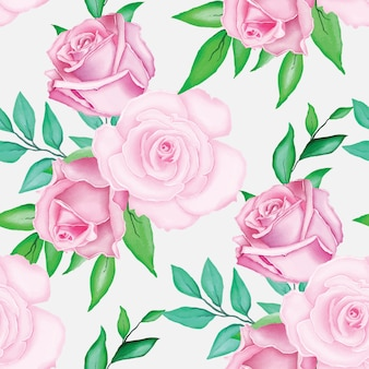 Schönes rosafarbenes rosenmuster mit aquarell