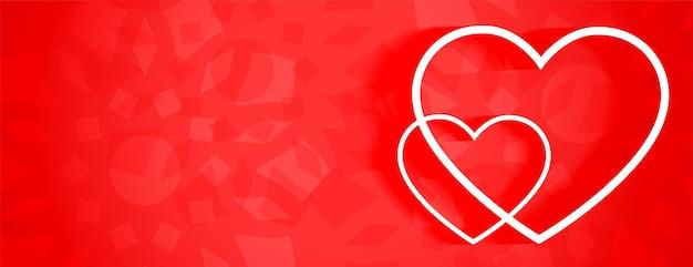 Schönes rotes banner mit zwei weißen linienherzen