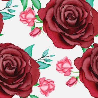 Schönes rotes rosenmuster mit aquarell