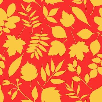 Schönes rotes und gelbes blattmuster