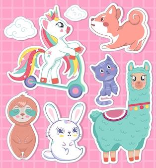 Schönes set einhorn faultier hase hund katze lama traum mit himmel illustration, druck für abzeichen