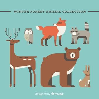Schönes set von wintertieren mit flacher bauform