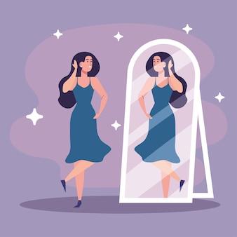 Schönes sexy mädchen, das in den spiegel mit blauem kleidillustrationsdesign schaut