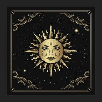 Schönes sonnengesicht im luxuriösen gravurhand gezeichneten stil