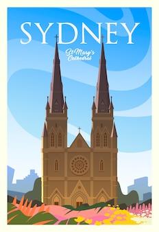 Schönes stadtbild am sonnigen tag in sydney mit gebäuden, kirche, blumen. zeit zu reisen. auf der ganzen welt. qualitätsplakat. st. mary's cathedral.