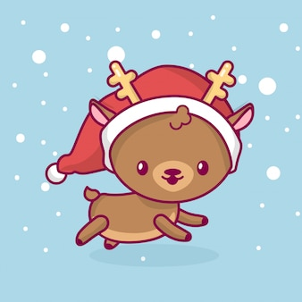 Schönes süßes kawaii chibi. hirsch seitenansicht läuft unter schnee. frohe weihnachten und ein glückliches neues jahr