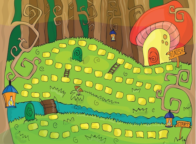 Schönes und buntes brettspiel für kinder - zauberwald