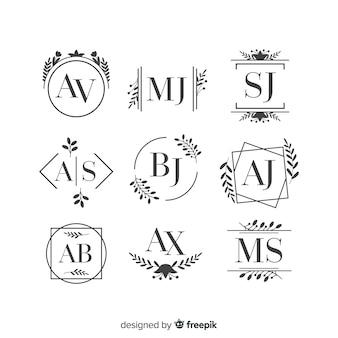 Schönes und elegantes logo oder firmenzeichen stellten für hochzeit oder floristen ein