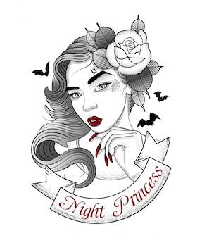 Schönes vampirsmädchen auf einem nachtweg