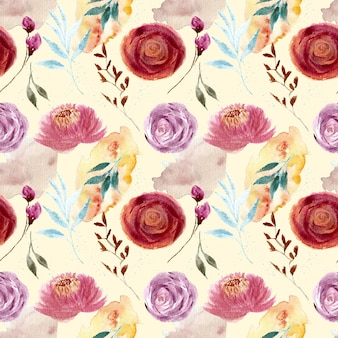 Schönes vintage rosenblumenaquarell nahtloses muster