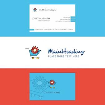 Schönes wageneinstellung logo und visitenkarte. vertikale