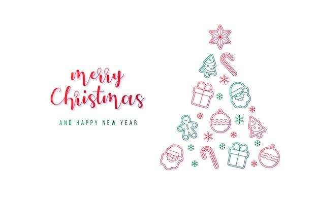 Schönes weihnachtsbanner mit weihnachtsbaum aus verschiedenen elementen