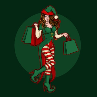 Schönes weihnachtselfenmädchen mit geschenkbeuteln