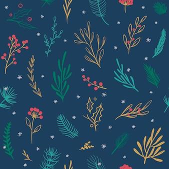 Schönes weihnachtsmuster vektor nahtlose muster mit floralen elementen winter saisonale muster