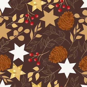Schönes weihnachtsnahtloses muster mit goldblättern und weihnachtsschmuck