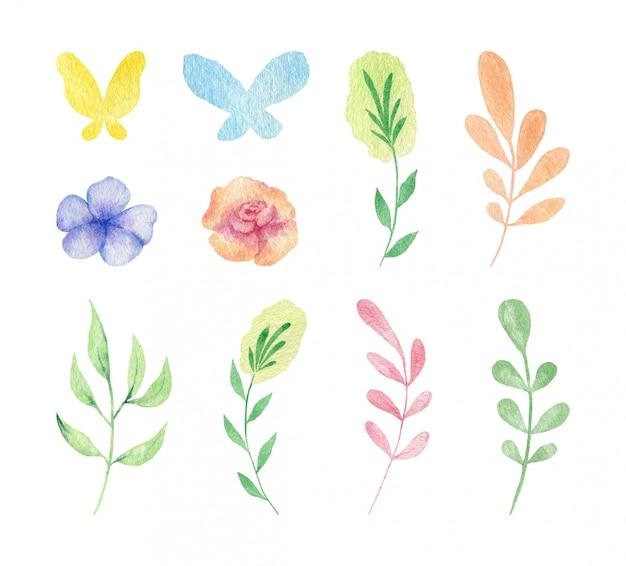 Schönes wildblumen-set mit blättern und schmetterling handgemalt in aquarell. sammlung einfacher blumen.