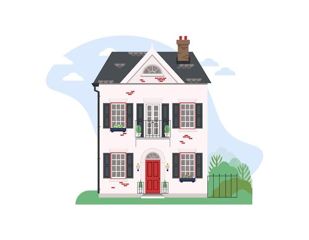 Schönes wohnhaus mit garten und einem teil der landschaft flache vektorillustration
