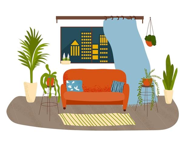 Schönes wohnzimmer mit vielen pflanzen