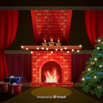 Schönes wohnzimmer mit weihnachtsdekoration
