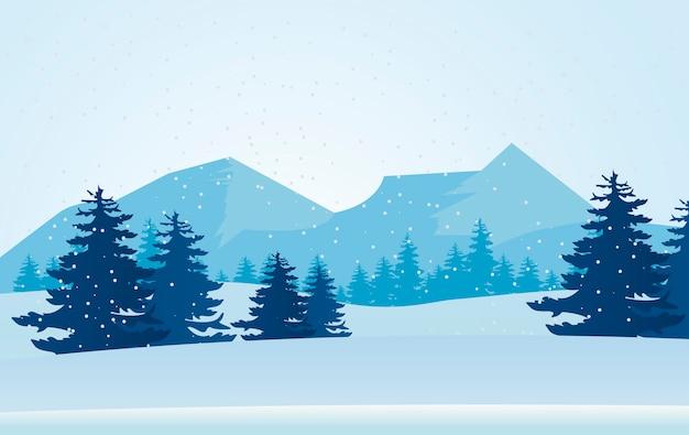Schönheit blaue winterlandschaftsszene berge und kiefernillustration