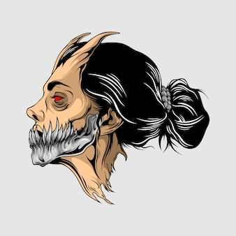 Schönheit dämonenkopf illustration