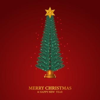 Schönheit elegante tanne verlässt girlande. weihnachtsbaumdekoration mit goldenem stern und rotem hintergrund.