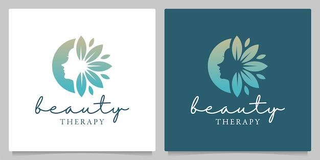 Schönheit frau gesicht blatt natur wellness logo design