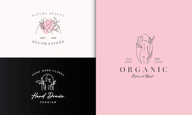 Schönheit frau körper mit botanic plant logo design