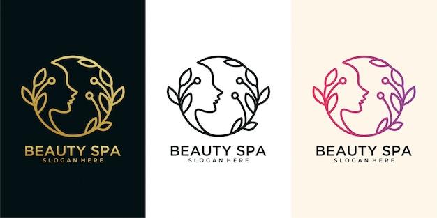 Schönheit frau spa line art stil mit gold farbverlauf logo design set