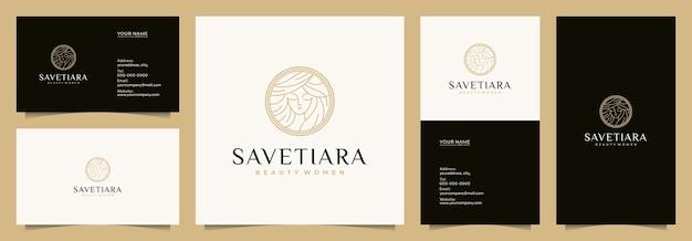 Schönheit frauen logo design inspiration für hautpflege, salons und spa, mit visitenkarten, visitenkarten,