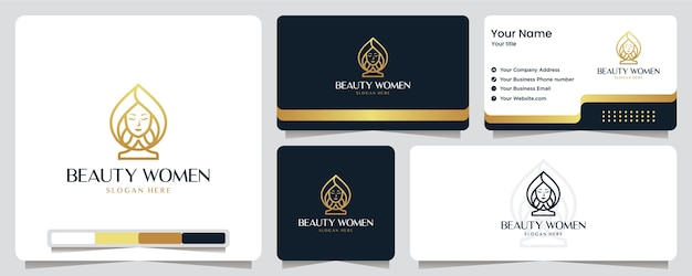Schönheit frauen, luxus, salon, spa, goldfarbe, banner, visitenkarte und logo-design