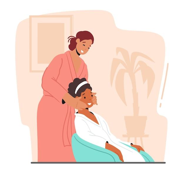 Schönheit, hautpflege, wellness-behandlung. weiblicher charakter, der zu hause gesichtsbehandlung anwendet. freundin, die frauengesicht mit naturkosmetik, kosmetik verarbeitet. cartoon-menschen-vektor-illustration