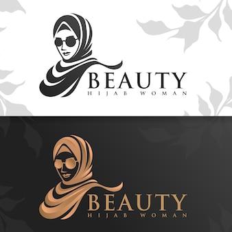 Schönheit hijab frau logo vorlage